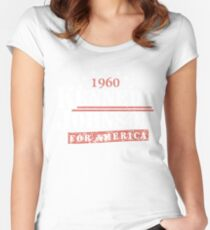 Vintage Kennedy Johnson 1960 Presidential Campaign Women's Fitted Scoop T-Shirt