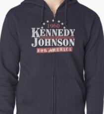 Sudadera con capucha y cremallera Campaña presidencial de la vendimia Kennedy Johnson 1960