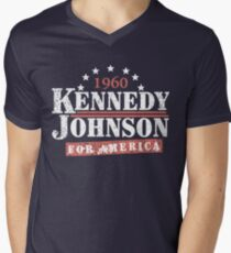 Vintage Kennedy Johnson 1960 Presidential Campaign Men's V-Neck T-Shirt