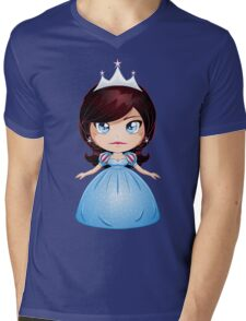 Princess With Black Hair In Blue Dress Mens V-Neck T-Shirt