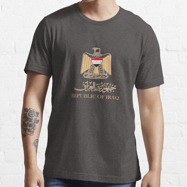 IRAQ FLAG ON IRAQI EMBLEM IN GOLDEN STYLISH DESIGN شعار العراق Essential T-Shirt