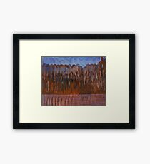 Brown Blue Abstract Organic Landscape Framed Print
