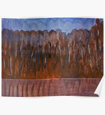 Brown Blue Abstract Organic Landscape Poster