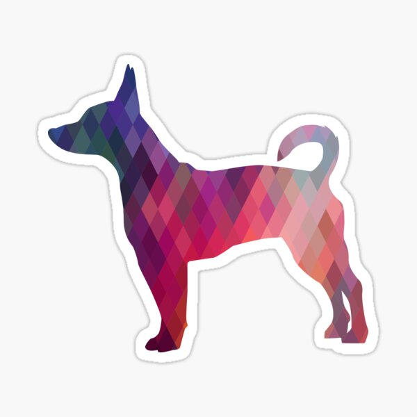 Rat Terrier Dog Colorful Geometric Pattern Silhouette - Pink Sticker