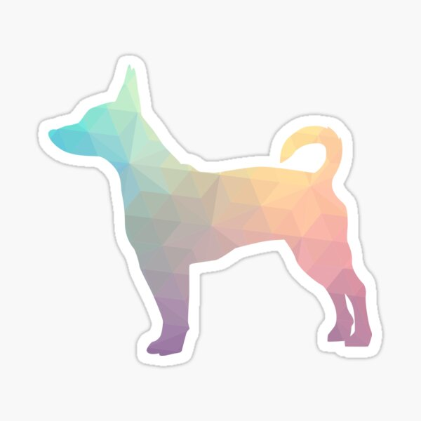 Rat Terrier Dog Colorful Geometric Pattern Silhouette - Pastel Sticker