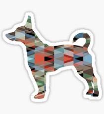 Rat Terrier Dog Colorful Geometric Pattern Silhouette - Plaid Sticker