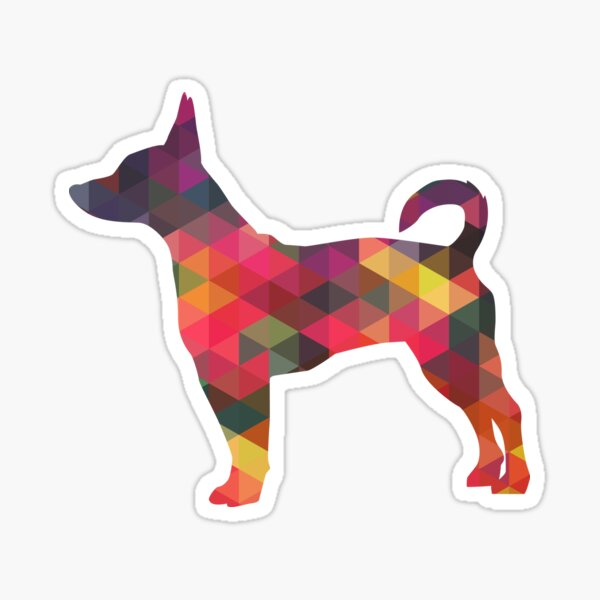 Rat Terrier Dog Colorful Geometric Pattern Silhouette - Multi Sticker