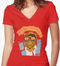 Lord help us, he's back in his pink Alf shirt Women's Fitted V-Neck T-Shirt