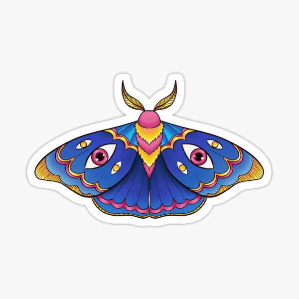 Pink Yellow and Blue Moth (with eyes) Sticker