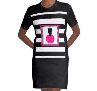 a2805786 Vinilos para portátiles «Esmalte de uñas a rayas rosa y negro» de ...