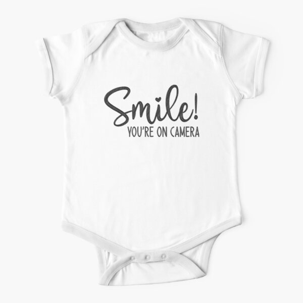 Smile You're On Camera, doormat Short Sleeve Baby One-Piece