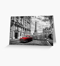 Artistic Paris, France. Eiffel Tower seen from the street with red retro limousine car Greeting Card