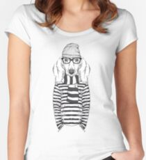 Hand Drawn Fashion Illustration of Doggy Hipster Women's Fitted Scoop T-Shirt