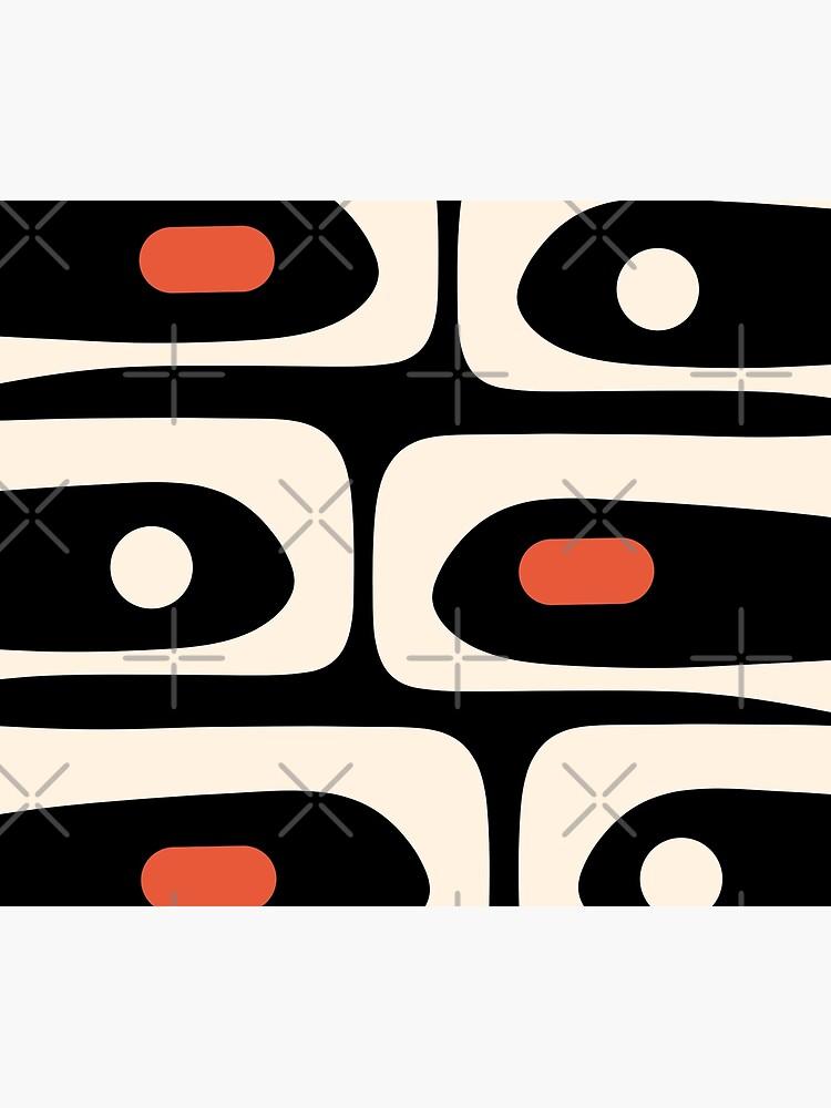Mid Century Modern Piquet Abstract Pattern Black, Orange, and Almond Cream by kierkegaard