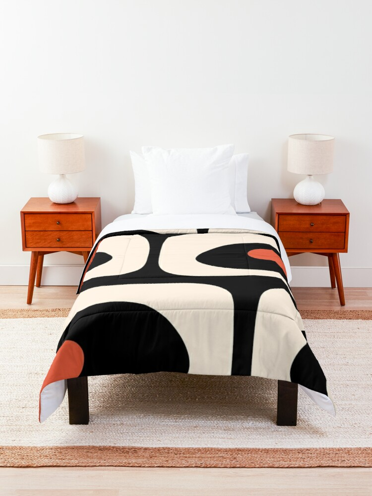 Alternate view of Mid Century Modern Piquet Abstract Pattern Black, Orange, and Almond Cream Comforter