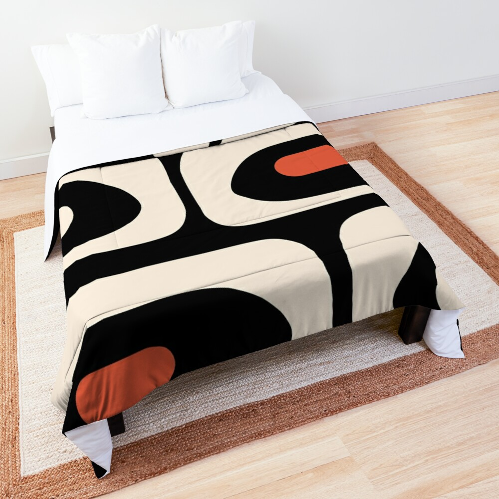 Mid Century Modern Piquet Abstract Pattern Black, Orange, and Almond Cream Comforter