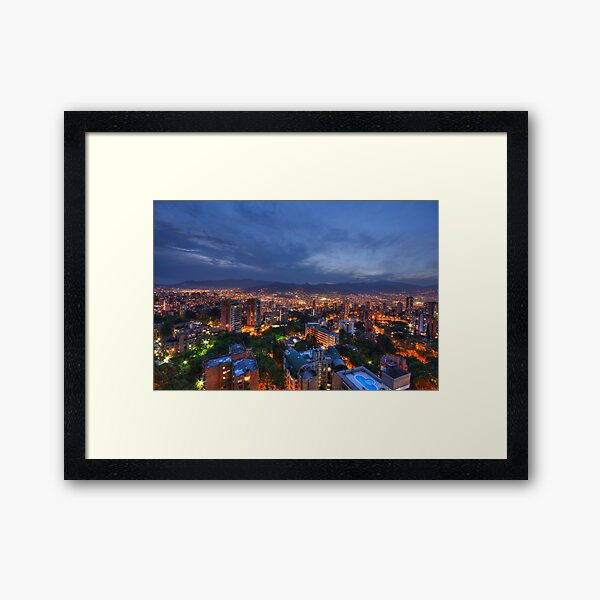 Medellin Colombia at Night Framed Art Print