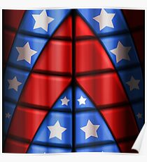 Superheroes - Red, Blue, White Stars Poster