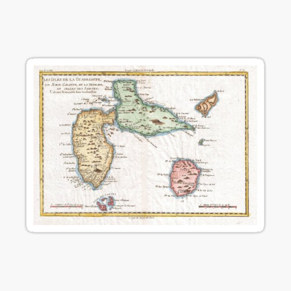 Vintage Map of Guadeloupe (1780) Sticker