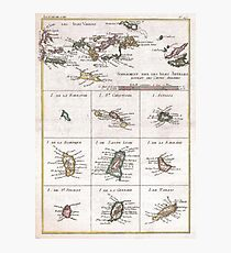 Vintage Islands of The Caribbean Map (1780) Photographic Print
