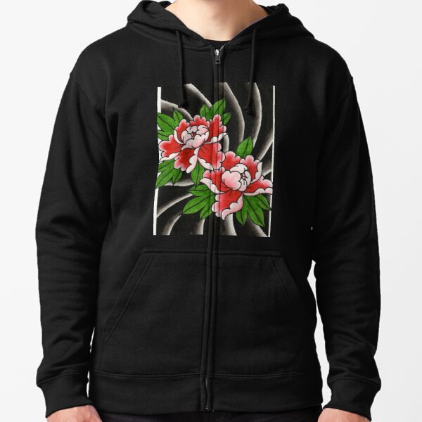 Traditional Japanese peony flower Zipped Hoodie