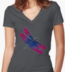 Bisexual Dragonfly Women's Fitted V-Neck T-Shirt