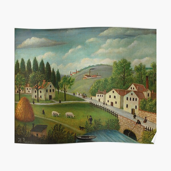 Pastoral landscape with stream, fisherman and strollers By Henri Rousseau (French, 1844-1910). Poster