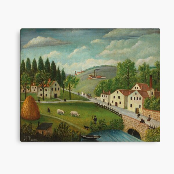 Pastoral landscape with stream, fisherman and strollers By Henri Rousseau (French, 1844-1910). Canvas Print