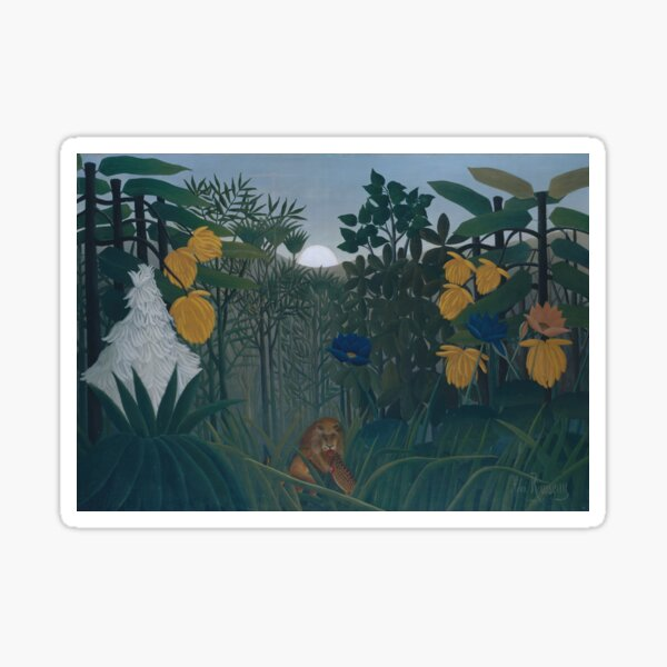 The Repast of the Lion (ca. 1907) By Henri Rousseau (French, 1844-1910). Sticker