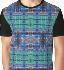Blue Green Abstract Squares Mandala Graphic T-Shirt