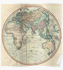 Vintage Map of The Eastern Hemisphere (1801) Poster