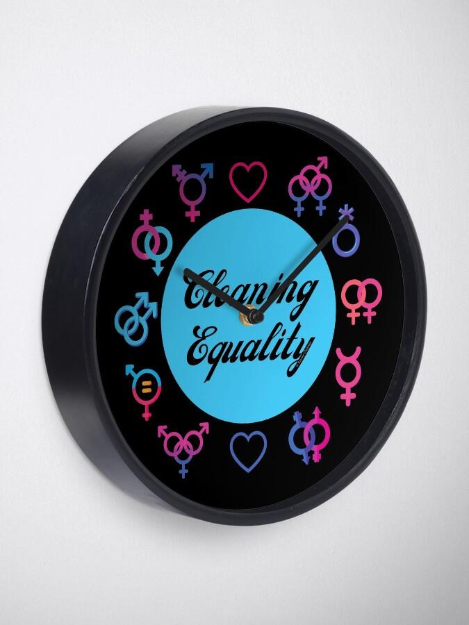 Alternate view of Cleaning Equality Gender Inclusive Housekeeping Pride Clock