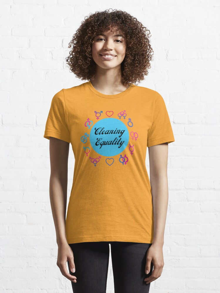 Alternate view of Cleaning Equality Gender Inclusive Housekeeping Pride Essential T-Shirt