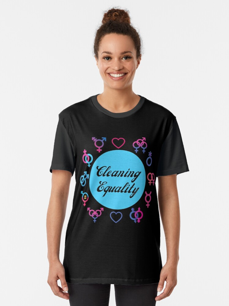 Alternate view of Cleaning Equality Gender Inclusive Housekeeping Pride Graphic T-Shirt