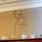 Teapots And The Lady In The Wall by WildestArt