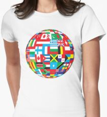 Flags Of The World Globe Womens Fitted T-Shirt