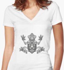 Frog Zentangle Women's Fitted V-Neck T-Shirt