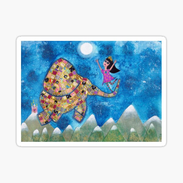 Missy and Elephant fly to the Moon Sticker