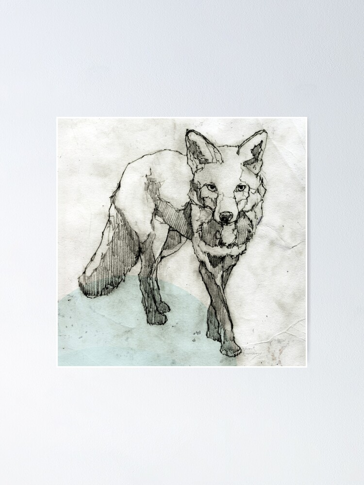 Alternative Ansicht von Fuchs Zeichnung Poster