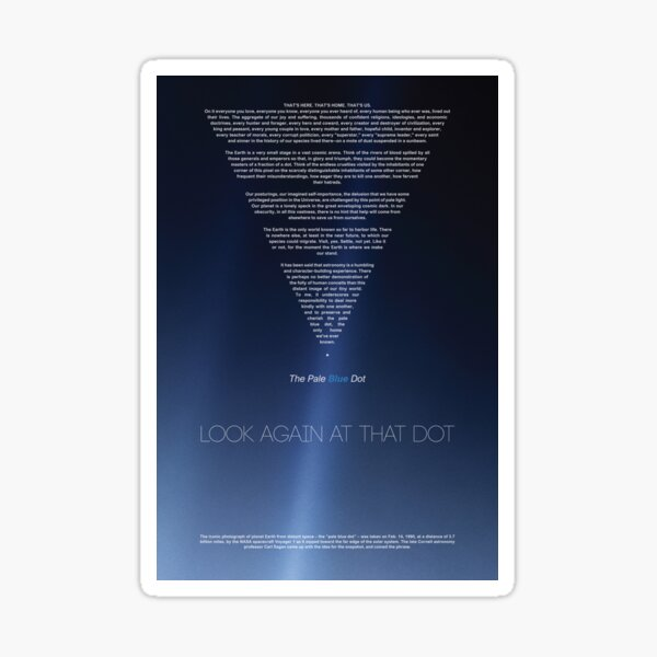 Carl Sagan American Astronomer, Pale Blue Dot - revisited 2020 | Cosmos Posters & Prints Sticker