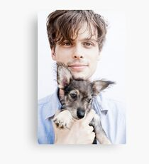 Matthew Gray Gubler with dog Metal Print