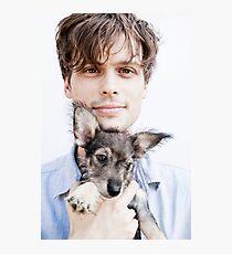 Matthew Gray Gubler with dog Photographic Print