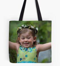 Joyful Flower Girl Tote Bag