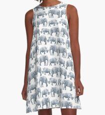 Watercolor Elephant & Rhino A-Line Dress