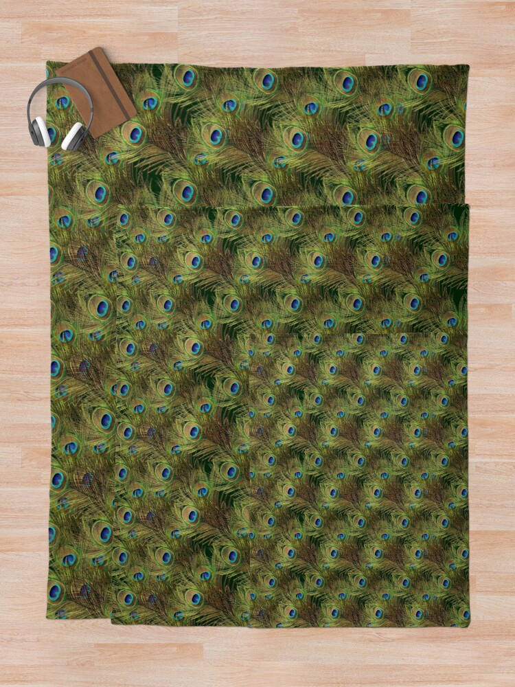 Alternate view of Peacock Feathers Throw Blanket