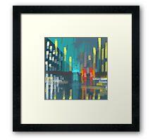 rain and city lights Framed Print