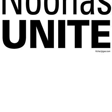 Noonas Unite T-shirts, Black Lettering by kchatjjigae