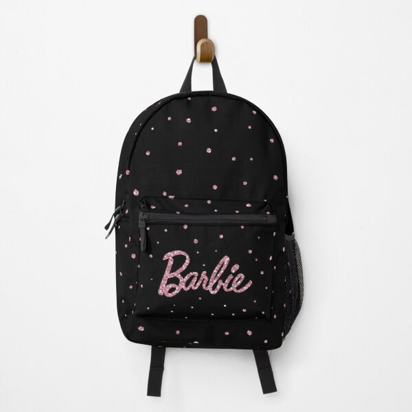 Barbie with pink glitter on black Backpack