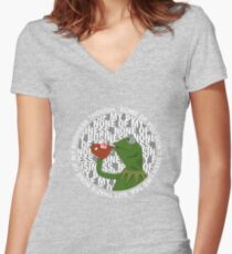 Kermit Sipping Tea (But that's none of my business) Women's Fitted V-Neck T-Shirt