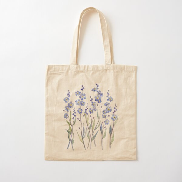Blue Forget Me Not Blooms Cotton Tote Bag